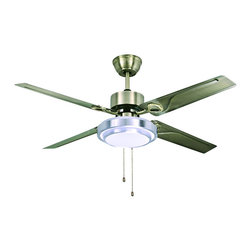 ParrotUncle - Contemporary Style Antique Bronze LED Ceiling Fan - Beautify your room with this glamorous ceiling fan. This chic ceiling fan has four iron blades with artistic lines in antique bronze finish. Featuring a round white shade and an energy efficient bulb, this distinctive fan also includes a remote control for easy operation. With the dual usage of the light and the fan, it is a good choice to your home decor.