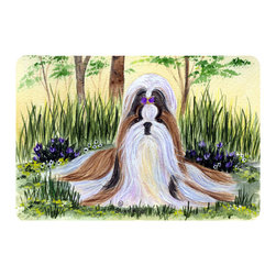 Caroline's Treasures - Shih Tzu Kitchen or Bath Mat 20 x 30 - Kitchen or Bath Comfort Floor Mat This mat is 20 inch by 30 inch. Comfort Mat / Carpet / Rug that is Made and Printed in the USA. A foam cushion is attached to the bottom of the mat for comfort when standing. The mat has been permanently dyed for moderate traffic. Durable and fade resistant. The back of the mat is rubber backed to keep the mat from slipping on a smooth floor. Use pressure and water from garden hose or power washer to clean the mat. Vacuuming only with the hard wood floor setting, as to not pull up the knap of the felt. Avoid soap or cleaner that produces suds when cleaning. It will be difficult to get the suds out of the mat.
