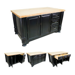 "Hardware Resources - Lyn Design Kitchen Island - Kitchen Island by Lyn Design. Featuring soft-close undermount slides and soft-close European hinges. Acanthus and fluted posts (FP1). 1-3/4"" Maple Butcher Block Top Sold Separately (ISL05-TOP). DIMENSIPONS: 63"" x 37-1/2"" x 34-1/4"" FINISH: DBK Distressed Black with 1094BNBDL and 1093BNBDL hardware. -"