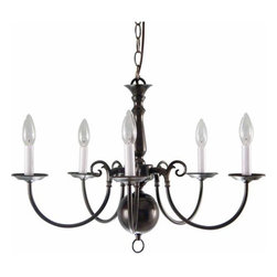 """Volume Lighting - Volume Lighting V3565 5 Light 16.75"""" Height 1 Tier Chandelier - Five Light 16.75"""" Height 1 Tier ChandelierAdorn your home with this enchanting 5 light chandelier featuring 1 tier and several gorgeous finishes to choose from.Features:"""