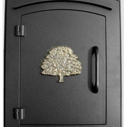 """Qualarc, Inc. - Manchester Mailbox, Oak Tree Logo, Black - This decorative cast aluminum mailbox insert can be matched with an optional newspaper holder or address plaque. The doors are sealed against the weather and its 22 gauge steel masonry box is electro-galvanized and powder coated to last. Faceplate Dimensions: 11"""" x 14.5"""". Masonry Can Dimensions: 16"""" x 8.5"""" x 12""""."""