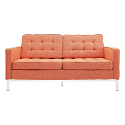 LexMod - Florence Style Loveseat in Orange Tweed - The mid-20th century was a time when hopes were at their highest. Technological developments were bustling forward, and the new world was just barely visible in the distance. But this time also presented a dilemma of sorts. The test of this forthcoming era was to be whether industry would foster comfort or stifle it.
