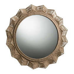Arteriors Home - Seasal Mirror - Seasal Mirror, inspired by hand carved Mayan Deco bas-relief found on 1940s buildings in Mexico, features a plaster mirror frame cast in resin and wrapped with natural sisal cord. 38 inch diameter x 1.5 inch depth. Weight: 21.5 pounds.