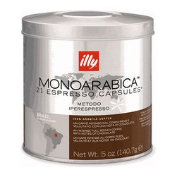 illy - illy iper Monoarabica Single-Origin Espresso Capsules Brazil - (21 count) - Coffee capsules to be used with any Francis Francis iper Espresso machine and the Gaggia for illy iper Espresso machine (Gaggia For Illy Plus Single Serve Machine). A complex medium bodied coffee with notes of chocolate, caramel and honey. Made of 100% single origin Arabica bean. An intense scent describes the profile of this variety of Arabica coffee. The intense and wraping aroma anticipates the velvety fullness of its body that gives an authentic tactile delight to the palate. Bitterness and sourness are balanced and enriched by a marked chocolate note.Made of 100% single origin Arabica beanArabica bean sourced from Brazil, more specifically the region of Minas Gerais, a prime region for one of the best coffees in th world.Selection of strictly hard beans grown in Minas Gerais, Brazil, processed via the washed method. Beans are roasted, processed and packed by illy in Italy.