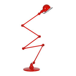 Jielde - Loft Zig-Zag Floor Lamp - 5-ARM D9405 - Jielde - The Jielde Loft Zig-Zag Floor Lamp is a tribute to industrial design at its best. Based on the original 1950's standard for a virtually indestructible work lamp, the series can twist, bend, and turn at many joints - all without moving the base or affecting the wiring. The wide variety of color options allows you to customize a lamp to your preference - something bright and funky that jumps out at the eye, or something more subtle to blend into a room.