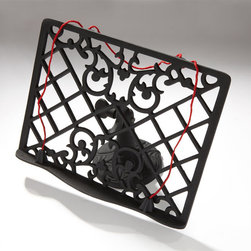 Cast Iron Cookbook Stand - Black Powder Coat - Easily follow your favorite recipes with the adjustable Cast Iron Lattice Cookbook Stand. The Black Powder Coat finish is versatile enough to fit any decor.