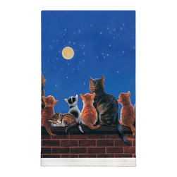 210-Cats Under Full Moon Tea Towel - Designed and silkscreened on 100% cotton with organic pigments right here in the USA, this handsome tea towel is a great addition to any kitchen.