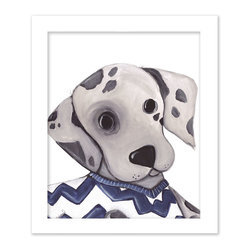 Doodlefish - Dennis Dalmatian - Dennis is a Dalmatian wearing a stylish chevron sweater that is part of our series of four pooch portraits. The artwork is a framed 11x14 - finished size 15x18. Click on More Images to see the choice of distressed frame and even add personalization. The set of four dogs includes Bently Beagle, Storm Springer and Benny Bulldog.