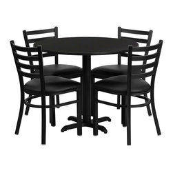 Flash Furniture - Flash Furniture 36 Inch Round Black Laminate Table Set with 4 Metal Chairs - No need to buy in pieces, this complete banquet table and chair set will save you time and money! This set includes an elegant black Laminate table top, X-Base and 4 metal Ladder back chairs. Use this setup for banquet Halls, Wedding Ceremonies, Hotel Conferences, restaurants, Break Room/Cafeteria settings or any other social gathering. The lightweight designer metal chair will enhance any environment. This Commercial Grade table set will last for years to come with its heavy duty construction. [HDBF1029-GG]