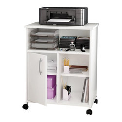 South Shore - South Shore Axess Printer Stand in Pure White - South Shore - Printer Stands - 7250691 - Both attractive and functional with clean contemporary styling, this printer stand is sure to enhance any home office. Its trendy and neutral finish matches many types of decor. This item offers open and closed storage spaces, for a tidy home office.