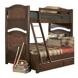 Homelegance - Homelegance Aris 4 Piece Bunked Kids' Bedroom Set in Brown Cherry - Classic in design and bold in style, the youth version of our popular Aris collection adds warmth and character to your child's bedroom. Bun feet serve to support the simple yet elegantly designed case pieces, while the warm brown cherry finish on select hardwoods and veneers completes the overall look. Student desk with hutch and coordinating chair are also available.
