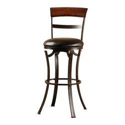 Hillsdale Furniture - Hillsdale Kennedy Swivel Counter Stool in Black and Gold - The Kennedy stool is a chic classic with a modern edge. with its flat legs, black gold metal finish and simply styled back, it is a sleek addition to any room. The 360 degree swivel seat is covered in black, while the stool back is finished in cherry wood. The stool is available in both bar and counter heights. Some assembly is required.