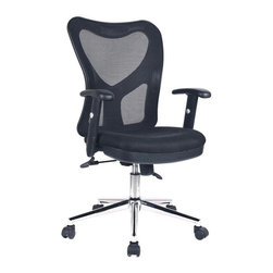 RTA Products - Techni Mobili High-Back Mesh Task Chair - Black - The Techni Mobili High-Back Mesh Task Chair has a sleek, contemporary design and features breathable mesh back support, a contoured fabric seat cushion, and height-adjustable padded armrests with a 3 inch range. The pneumatic height adjustment lever provides a 3 inch seat height adjustment range and the reclining back has a locking lever and a tension control knob. Dual wheel non-marking casters and heavy-duty chromed steel 5-star base provide durable, stable mobility.