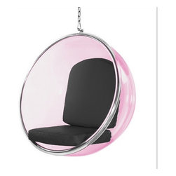 Lemoderno - Fine Mod Imports  Bubble Hanging Chair Pink Acrylic, Black - The pink transparent acrylic and chrome plated chair remains as cutting edge in its design, despite being created over 40 year's ago. Bubble Color is Transparent Pink With Polished Chrome Base    Assembly Required