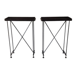 RT Facts - Pair of Tall Iron Tray Tables - Made from munitions trays from the Civil War, these trays are made from heavy cast iron with wrought iron handles. On modern wrought iron bases, featuring penny feet. These tray tables are not removable like our older models. Works beautifully as a tall side tables.