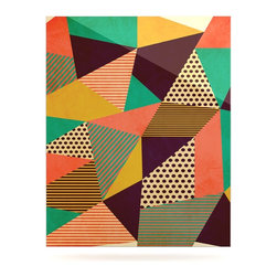 """Kess InHouse - Louise Machado """"Geometric Love II"""" Orange Green Metal Luxe Panel (16"""" x 20"""") - Our luxe KESS InHouse art panels are the perfect addition to your super fab living room, dining room, bedroom or bathroom. Heck, we have customers that have them in their sunrooms. These items are the art equivalent to flat screens. They offer a bright splash of color in a sleek and elegant way. They are available in square and rectangle sizes. Comes with a shadow mount for an even sleeker finish. By infusing the dyes of the artwork directly onto specially coated metal panels, the artwork is extremely durable and will showcase the exceptional detail. Use them together to make large art installations or showcase them individually. Our KESS InHouse Art Panels will jump off your walls. We can't wait to see what our interior design savvy clients will come up with next."""