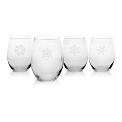None - Snowflake Stemless Wine Glasses - Add a festive touch to your barware or dinnerware with this beautiful set of snowflake-themed stemless wine glasses. Each designed with a unique snowflake,this stunning set makes an amazing housewarming or holiday gift.
