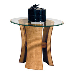 American Drew - American Drew Grove Point Round Glass Top End Table in Soft Khaki - Round Glass Top End Table in Soft Khaki belongs to Grove Point Collection by American Drew Soft Khaki, Primavera Veneer, Hardwood Solids, Sand Colored Raffia and Linen Fabric, Chocolate Brown Accent Finish End Table (1)