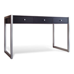 Jesper Office Furniture - 9000 Series Contemporary Desk in Espresso Finish - Features: