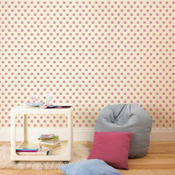 Graham & Brown - Polka Flock Pink Wallpaper - Perfect to match with the Hello Kitty and Princess Flock designs this cute pink polka dot wallpaper is simple yet stunning.