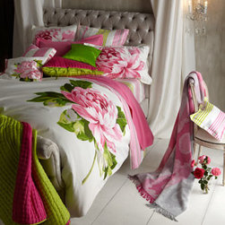 "Designers Guild - Designers Guild Queen Fuchsia/Lime Silk Quilt, 91"" x 91"" - Large-scale peonies, bursting with color, sit against the fresh white ground of ""Charlottenberg"" bed linens. A coordinating stripe is used for duvet cover reverse, sheeting, and boudoir sham on chair. Printed on 300-thread-count cotton sateen. By Design..."