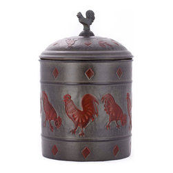 Old Dutch International - Rooster Cookie Jar w/Fresh Seal Cover - Give your counter a charming, rustic feel with this chased rooster 4-quart cookie jar, generously sized as 11-by-7 inch.  Keep your baked goods fresh with this handcrafted, tightly lidded iron jar, which comes in a warm antique patina.