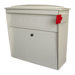 Townhouse Locking Wall-Mount Mailbox - Designed with your convenience and security in mind, this decorative Townhouse mailbox is constructed of tough, vandal resistant, heavy gauge galvanized steel. Identity theft is a ongoing crime and can happen to anyone and this mailbox includes a locking access door protected by a commercial-grade anti-pick lock that will protect your identity and private information and prevent it from getting into the wrong hands.