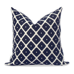"""Robert Allen, Woven Deep Blue Fretwork Pillow Cover, 18""""x18"""" - This  jacquard pillow cover is an instant classic with it's midnight blue and off-white serrated diamond pattern. Made of 100% spun polyester home decor fabric. Size shown 20""""x20""""."""