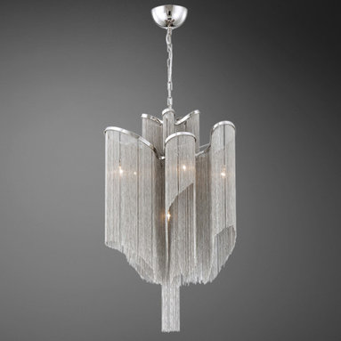 Cadena 7 Light Chandelier by Eurofase - Cadena 7 light chandlier features hanging nickel strands on a nickel frame. Available in a 7, 12 or 16 light option as well as a 4, 5 or 8 light round shaped option. Also available in a rectangular suspension and wall sconce version. Seven 60 watt, 120 volt, T4 G9 base halogen lamps not included. General light distribution. Overall maximum height is 72 inches. 17.75 inch diameter x 31.5 inch height.