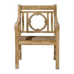 Currey & Co - Currey & Co 2723 Leagrave Portland Chair - Created to emulate classic seating in an English garden, this handsome Currey & Co 2723 Leagrave Portland Chair will be at home tucked in a private corner, on a patio or around the pool. Designed with a slatted and circle back, the chair's Portland finish has the appearance of fine wood and coordinates beautifully with most other furnishings. However, the chair's concrete and steel construction guarantees a long life.