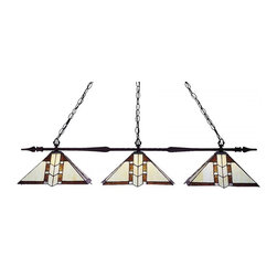 "Three Light Bronze Multi Color Tiffany Glass Pool Table Billiard Light - The slim styling of this three light fixture creates a classic yet modern statement. Finished in bronze, this three light fixture uses warm glowing tiffany shades to compliment its classic look, and 72"" of chain per side is included to ensure the perfect hanging height"