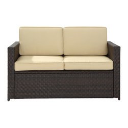 Crosley - Palm Harbor Outdoor Wicker Loveseat - Lounge around on our elegantly designed all-weather wicker loveseat. Finely crafted with intricately woven wicker over durable aluminum frames, this timeless piece provides lasting comfort and style. Let your worries fade away as you doze off in our UV/fade resistant cushions.