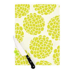 """Kess InHouse - Pom Graphic Design """"Grape Blossoms"""" Yellow Circles Cutting Board (11.5"""" x 15.75"""" - These sturdy tempered glass cutting boards will make everything you chop look like a Dutch painting. Perfect the art of cooking with your KESS InHouse unique art cutting board. Go for patterns or painted, either way this non-skid, dishwasher safe cutting board is perfect for preparing any artistic dinner or serving. Cut, chop, serve or frame, all of these unique cutting boards are gorgeous."""