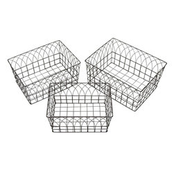 """Benzara - Dazzling Yangtze Metal Wire Basket Set/3 - Add style to your living space by getting this basket set that comprises of three wired baskets in different sizes. Use it in your living room, kitchen or bedroom as it is of great use in all rooms. In the kitchen you can use it to keep utensils while in the bathroom you can use it to keep clothes. In the living room, you can use it as a waste bin. The good quality construction of these baskets makes it durable and it last in good condition for years together.These baskets are traditionally styled with a touch of sophistication. These baskets make a huge stamen to your living space and are quite affordable. You can keep changing the place of these baskets according to the use as they are light in weight. So, make a style stamen and at the same time stay away from clutter by introducing these baskets to your dwelling. This wire basket measures 16 inches (Width) x 12 inches (L) x 9 inches (Height), 15 inches (Width) x 11 inches (L) x 8 inches (Height) and 14 inches (Width) x 10 inches (L) x 7 inches (Height) ; Sturdy construction; Useful for storage ; Dimensions: 20""""L x 5""""W x 21""""H"""