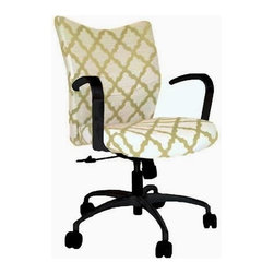 9 to 5 Seating - Fabric Office Chair Upholstered in DwellStudio Casablanca Geo - DwellStudio Casablanca Geo Citrine