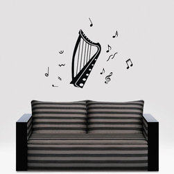ColorfulHall Co., LTD - Harp Instrument with Music Notes Wall Art Music Wall Decals - Harp Instrument with Music Notes Wall Art Music Wall Decals
