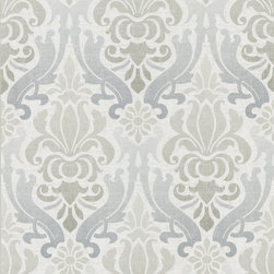 Kenneth James - Aquitaine Blue Nouveau Damask  Wallpaper - Add the drama of damask to your decor with this beautifully patterned paper. The print is fabulous but the colors are soft for an overall effect of understated elegance.