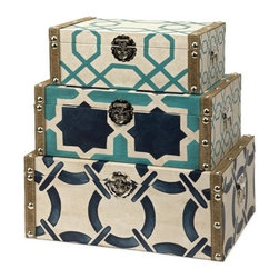 "IMAX - Hadley Boxes - Set of 3 - Inspired by nautical shades and patterns, the set of three Hadley boxes add a contemporary twist to any decor. Item Dimensions: (8.75-10.75-13""h x 5.25-6.5-7.75""w x 14-16.25-18.25"")"