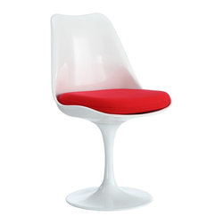 POLY+BARK - Eero Saarinen Style Tulip Side Chair with Red Fabric Cushion - - Swivel Base