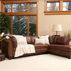 Elements Home Furnishing - Corsario Top Grain Leather Sectional in Bourb - Choose Style: Left Arm Sofa, Right Arm ChaisePictured: Left Arm Facing Sofa and Right Arm Facing Chaise. Shown in Bourbon. Top Grain Leather. Traditional roll arm. Antiqued brass nailhead accents along the arms. Tufting on seat cushions. Hardwood frame encased in  high density foam. Dark brown wood feet. Sofa Dimensions: 81.5 in. D x 39 in W x 33 in. H ( 133.1 lbs. ). Chaise Dimensions: 38.5 in. D x 82.5 in W x 33 in. H ( 127.2 lbs. )This sectional can be configured with a left or right facing sofa.  Multi-faceted elements such as the incredible attention to detail with the prominent tufted seat cushions, the strategically placed nailhead accents along the elegant roll arm and the sturdy square feet make this a noteworthy collection.  Corsario is framed with buttery soft top grain leather shown in Bourbon, and perhaps adding the Corsario to your repertoire will persuade you to schedule your first home furnishing exhibition.