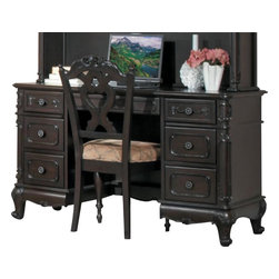 Homelegance - Homelegance Cinderella Double-Drawer Pedestal Writing Desk in Cherry - The Cinderella collection is your little girl s dream. The Victorian styling incorporates floral motif hardware, Dark cherry finish and traditional carving details that will create the feeling of a room worth of a fairy tale princess.