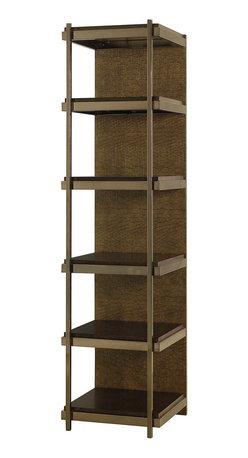 Hammary - Hammary Bruno 6 Wood Shelf Etagere w/ Faux Crocodile Skin Front & Steel Base - Belongs to Bruno Collection by Hammary, 6 Wood shelves, Faux Crocodile Skin Front, Steel Base, Etagere 1