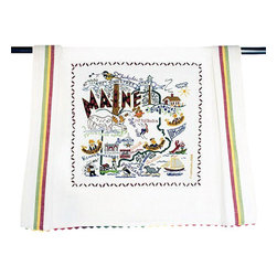 CATSTUDIO - Maine State Dish Towel by Catstudio - This original design celebrates the state of Maine from Kennebunkport to Moosehead Lake to Portland.  This design is silk screened, then framed with a hand embroidered border on a 100% cotton dish towel/ hand towel/ guest towel/ bar towel. Three stripes down both sides and hand dyed rick-rack at the top and bottom add a charming vintage touch. Delightfully presented in a reusable organdy pouch. Machine wash and dry.