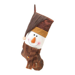 KOOLEKOO - Golden Sparkle Snowman Stocking - The Golden Sparkle Snowman Stocking is full of cheer, even before you fill it with bits and baubles of festive fun. His plush white face smiles from between his rich brown scarf and his golden-trimmed cap, and he'll be a great addition to your holiday decor.