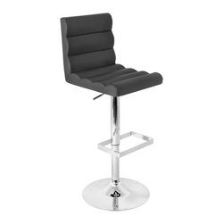 Lumisource - Autoo Bar Stool Black - Get it in gear with the Autoo Bar Stool! Featuring black leatherette, a unique ripple effect in the seat and full back, polished chrome base and rectangular footrest, the Autoo is designed to be sporty and comfortable.