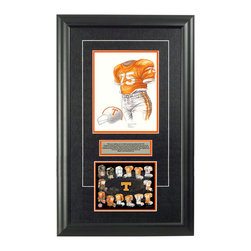 "Heritage Sports Art - Original art of the NCAA 1967 Tennessee Volunteers uniform - This beautifully framed NCAA football piece features an original piece of watercolor artwork glass-framed in an attractive two inch wide black resin frame with a double mat. The outer dimensions of the framed piece are approximately 17"" wide x 28"" high, although the exact size will vary according to the size of the original piece of art. At the core of the framed piece is the actual piece of original artwork as painted by the artist on textured 100% rag, water-marked watercolor paper. In many cases the original artwork has handwritten notes in pencil from the artist. Simply put, this is beautiful, one-of-a-kind artwork. The outer mat is a rich textured black acid-free mat with a decorative inset white v-groove, while the inner mat is a complimentary colored acid-free mat reflecting one of the team's primary colors. The image of this framed piece shows the mat color that we use (Orange). Beneath the artwork is a silver plate with black text describing the original artwork. The text for this piece will read: This is an original, one-of-a-kind watercolor painting of the 1967 Tennessee Volunteers uniform worn by #75 John Boynton and was used in the creation of this Tennessee Volunteers uniform evolution print and thousands of Tennessee products that have been sold across North America. This original piece of art was painted by artist Marguerite Perry for Maple Leaf Productions Ltd. Beneath the silver plate is a 6.5"" x 7"" reproduction of a uniform evolution print that celebrates the history of the team. The print beautifully illustrates the chronological evolution of the team's uniform and shows you how the original art was used in the creation of this print. If you look closely, you will see that the print features the actual artwork being offered for sale. The 6.5"" x 7"" print is shown above. The piece is framed with an extremely high quality framing glass. We have used this glass style for many years with excellent results. We package every piece very carefully in a double layer of bubble wrap and a rigid double-wall cardboard package to avoid breakage at any point during the shipping process, but if damage does occur, we will gladly repair, replace or refund. Please note that all of our products come with a 90 day 100% satisfaction guarantee. Each framed piece also comes with a two page letter signed by Scott Sillcox describing the history behind the art. If there was an extra-special story about your piece of art, that story will be included in the letter. When you receive your framed piece, you should find the letter lightly attached to the front of the framed piece. If you have any questions, at any time, about the actual artwork or about any of the artist's handwritten notes on the artwork, I would love to tell you about them. After placing your order, please click the ""Contact Seller"" button to message me and I will tell you everything I can about your original piece of art. The artists and I spent well over ten years of our lives creating these pieces of original artwork, and in many cases there are stories I can tell you about your actual piece of artwork that might add an extra element of interest in your one-of-a-kind purchase."