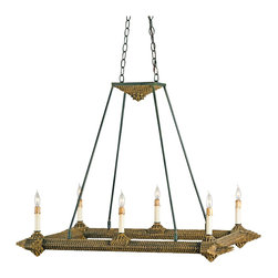 "Kathy Kuo Home - Notched Metal ""Tramp Art"" Rectangular 6 Light Island Chandelier - Inspired by the American crafts movement of the late 19th century and early 20th century, this new collection consists of lighting and furniture created by hand. A popular movement during this time period was Tramp Art. All that was needed to create Tramp Art was patience, imagination, and a penknife. We have reclaimed the tramp art method in a new way but with similar technique and materials. The Notched Metal Chandelier is a wonderful example of wood notching associated with Tramp Art. Made of wrought iron and wood, this chandelier has the appearance of an authentic product from the 1920's."