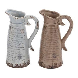 "Benzara - Easy to Use and Lightweight Ceramic Pitcher with Antique Design - Easy to Use and Lightweight Ceramic Pitcher with Antique Design. An attractive addition for your dinnerware, this unique and exotic pitcher is a steal. It comes with a dimension of 8""W x 6""D x 12""H. Some assembly may be required."