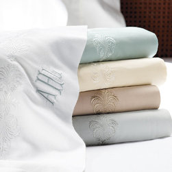 Frontgate - Micro Cotton Oxygen™ Sheet Set - Refreshing light, airy, and cool. The unique weave of the long fibers impart brilliant luster. Choose from coastal-inspired embroidery or a tailored hem. Set includes flat and fitted sheets and two pillowcases. Exquisitely spun and intricately woven from 100% superfine, extra-long-staple cotton, our Micro Cotton Oxygen™ Sheets feature groundbreaking innovation and proprietary technology that makes it like no other sheet on the market today. Lightweight and eminently breathable, the fibers are oriented to maximize the substantial hand, soft feel, and effortless drape.  .  .  .  . Imported.