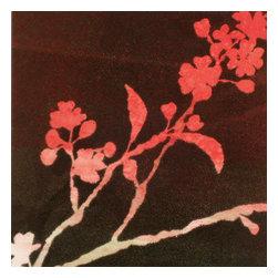Blushing Blossoms Artwork - Monotype collage mounted on board By Linda Yoshizawa